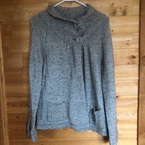 Calvin Klein Cowl Neck Cardigan Sweater Gray